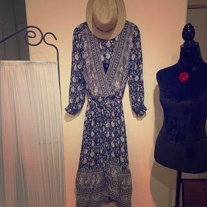 Lucky Brand Midi Wrap Dress Blk/Grey SL